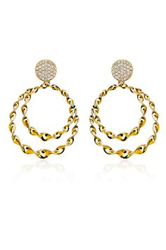 "Twisted 18K yellow gold double circles encrusted with almost a carat of pave diamonds will have your ears dancing at every turn. Haute Vault's most popular Italian earrings, rent them to refresh your daytime or dinner wardrobe and for added glamour, pair with stacked pave' bangles from our collection. Measures 2"" long; Available for rental at www.hautevault.com"