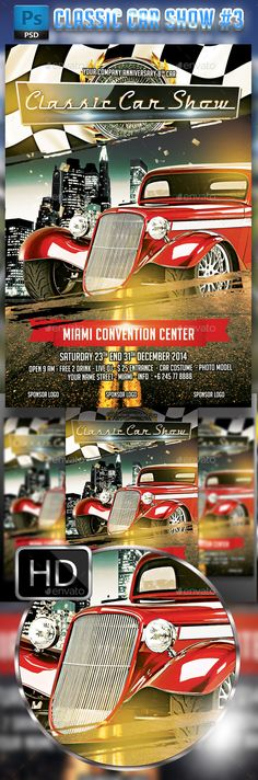 Classic Car Show Flyer #3 U2014 Photoshop PSD #vintage #classic U2022 Available Here