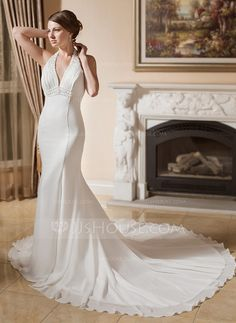 [R$ 611.64] Trompete/Sereia Cabresto Cauda longa De chiffon Vestido de noiva com Pregueado Bordado Apliques de Renda (002000043)