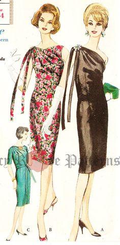 Vogue 4228 Misses' Vintage 1960s One Shoulder by DRCRosePatterns