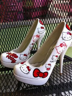 White Hello Kitty Stiletto High Heeled Women's Shoes with Kitty Wearing a Red Bow!