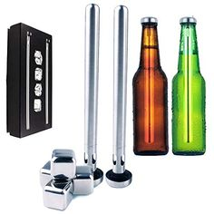 Beer Bottle Chiller Stick Set of 2 Cooler W/Reusable Ice Cubes Stainless Steel Square 4 Pieces Refreezable Reusable - Bottles Cup Can Glass - Whiskey Cocktail Burban - Gift Set Man Woman 304 Metal BPA Whiskey Cocktails, Ice Cubes, Beer Bottle, Sticks, Stainless Steel, Canning, Amazon, Metal