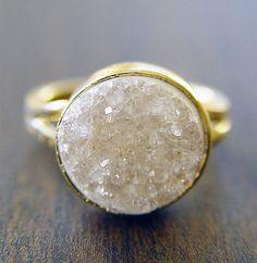 Vanilla Druzy Gold Ring  White Crystals by friedasophie on Etsy, $79.00