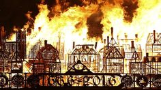 A giant wooden replica of 17th century London is set ablaze on the River Thames in a retelling of the Great Fire of London 350 years ago.