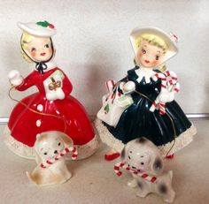 Vintage Christmas Norcrest shopper girls red green puppy candy cane vintage