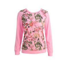 AdoreWe - CHICUU Casual Floral Print Long Sleeve Soft T-Shirt - AdoreWe.com
