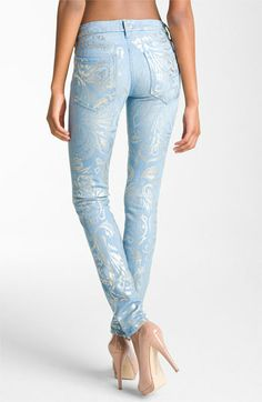 MOTHER 'The Looker' Metallic Print Skinny Jeans (Gold Rush) available at #Nordstrom