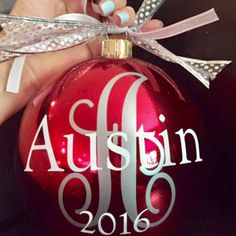 Have a large tree or just a great basket/display you want to personalize this Christmas season? These extra large monogram/name  ornaments are awesome! They come in red and silver and you can choose the vinyl lettering colors.