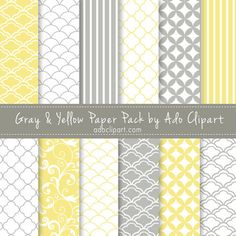 Yellow and Gray Digital Scrapbook Paper Pack - Scrapbooking Papers pattern background. $3.50, via Etsy.