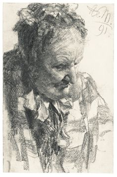 Adolph von Menzel (BRESLAU 1815 - 1905 BERLIN) - HEAD OF A WOMAN, DOWNWARD GAZE. Graphite with stumping and black chalk; signed with initials and dated, upper right: 91, 198 by 128 mm