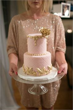 gold and pink wedding cake by http://www.mysweetandsaucy.com/ photo by http://www.troygrover.com/