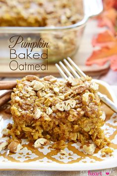 Pumpkin Baked Oatmeal with Maple & Pecans {Dairy-Free} (via Bloglovin.com )