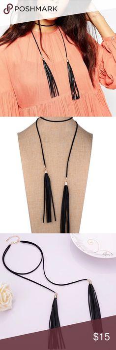 Adjustable Tassel choker necklace Adjustable Black Tassel Chocker necklace Jewelry Necklaces