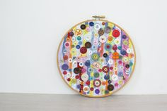 Upcycled Embroidery Hoop Art, Textile And Vintage Button Art, Tutti Fruity Cupcake Chaos, MultiColor Button Decor. $75.00, via Etsy.