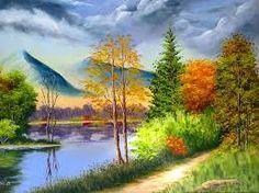 Resultado de imagem para pintura em tela paisagem com casa