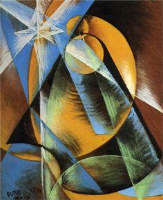 """Giacomo Balla (Italian, 1871-1958)  """"Planeta mercurio pasando frente al sol""""  1914"""