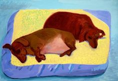 Dog Painting 1994 Oil on canvas x The David Hockney Foundation David Hockney, Encaustic Painting, Chalk Pastels, Dog Paintings, Wood Engraving, Linocut Prints, Woodblock Print, Dachshund, Vintage Art