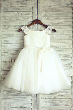 Ivory Lace Tulle Flower Girl Dress Wedding Children Easter Bridesmaid Communion | eBay