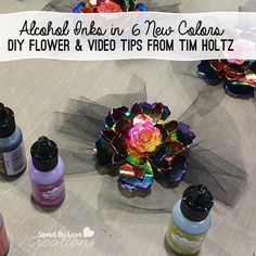 New Ranger Ink Alcohol ink colors and DIY Flower with CHA 2014 Tim Holtz Video @savedbyloves
