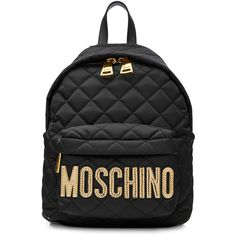 Moschino Quilted Backpack (£270) ❤ liked on Polyvore featuring bags, backpacks, black, moschino backpack, backpack bags, zip top bag, moschino and top handle bags
