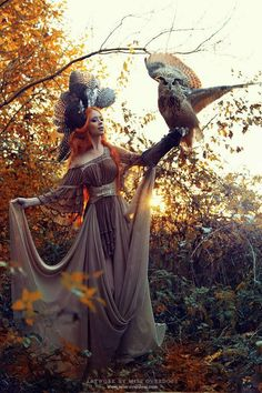 'Autumn'   Model,make-up,clothing,retouch: Model Ophelia Overdose  Photographer: Rebecca Magdalena Photography Rebecca Magdalena Photography  Owl: Falknerei Pierre Schmidt  Clothing: Miss Overdose  Headpiece: Posh Fairytale Couture