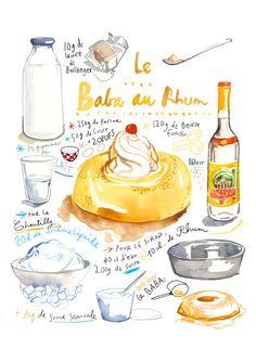French cake recipe poster Baba au rhum by lucileskitchen on Etsy