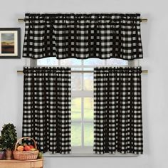 Gingham Kitchen Curtains Window Treatments Homeminimalis