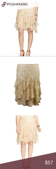 """Lauren Ralph Lauren Tan Snake Chiffon Skirt 10 NEW New- Lauren Ralph Lauren Tan Snake Printed Chiffon Skirt Size 10P Beautiful skirt, Ruffled """"python print"""" - Polyester material.  MRSP $115; purchased wrong size and cannot return. Never Worn, Brand New. selling for MUCH less than bought for. Reasonable offers will be considered! Wash cold/gentle:  size 10P= Medium B/C 37½ W 30½ H 40½ Lauren Ralph Lauren Skirts"""