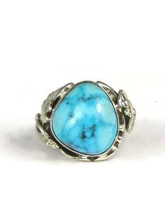 Blue Gem Turquoise Ring Size 5 Les Baker Jewelry - Southwest Silver Gallery