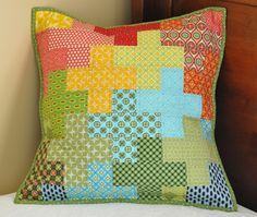 Sewing Pillows Crosses pillow - great way to use the pattern w/out doing a whole quilt. - Pillow Talk Swap Pillow by Cherie. Patchwork Quilt, Patchwork Cushion, Quilted Pillow, Patchwork Bags, Handmade Pillows, Custom Pillows, Decorative Pillows, Small Quilts, Mini Quilts
