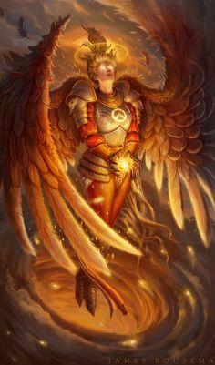 Guardian Angel, Mercy from Overwatch Blizzard fan art by James Bousema