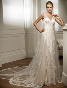 Empire V-Neck Cathedral Train Lace Wedding Dress