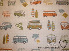 Stoff retro - Dekostoff - VW Bus, Flower power, Hippies - ein Designerstück von Luria bei DaWanda