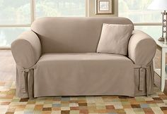 Sure Fit Slipcovers Cotton Duck One Piece Slipcovers - Loveseat