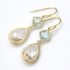 Aquamarine and Crystal Clear Faceted Glass Earrings in Gold Setting