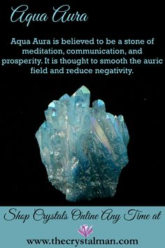 Aqua Aura ~ Meditation-Communication-Prosperity-Auric Smoothing-Negativity Reduction You can shop new crystals online all the time at The Crystal Man! Chakra Crystals, Crystals Minerals, Crystals And Gemstones, Stones And Crystals, Gem Stones, Crystal Shop, Crystal Grid, Wholesale Crystals, Aqua Aura Quartz