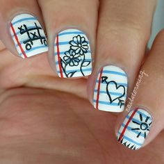 """Notebook doooodles. Tutorial was already posted. - - Products used: Base : """"Alpine Snow """" OPI  Details : acrylic paint  Top coat : Matte About You Essie"""