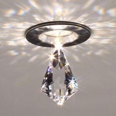 Gorgeous!!!  Ledra 12 Matte Chrome LED Recessed Light With Diamond Kite Crystal Accessory Bruck Lightin