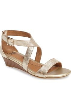 Main Image - Söfft 'Innis' Low Wedge Sandal (Women) Flat to low/medium heeled/wedged gold sandal Low Wedge Sandals, Low Wedges, Sandal Wedges, Summer Sandals, Comfy Shoes, Comfortable Shoes, Bridesmaid Wedges, Prom Heels, Outfit
