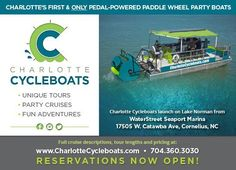 MORE FUN IS COMING TO LAKE NORMAN!A fun new water experience from Charlotte Cycleboats, LLC is coming to Lake Norman and is planning to set sail in mid Ju