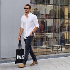 mens white shirt jeans desert boots sunglasses