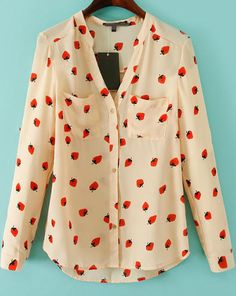 V Neck Strawberry Print Blouse