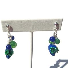 Blue Skulls with Green Roses, Blue Agate and Swarovski Crystal Dangle Earrings - Post backs $18.00
