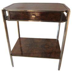 An European Pre War Walnut And Chromed Steel Side Table.1930.