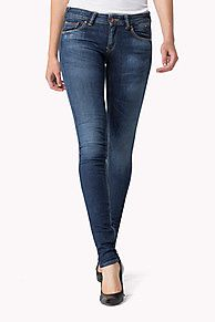 These Sophie jeans have a skinny fit with a curved, skinny leg and mid rise. Dark blue wash with light whiskers at the hips and lightly faded thighs. Slightly stretchy, midweight denim that fits like a second skin. Hilfiger Denim flag on the coin pocket. Brand badge on waistband. <br/><br/>Leg opening: 26.7cm<br/>Front rise: 19.7cm<br/><br/>Our model is 1.76m and is wearing a W28/L32 Hilfiger Denim jeans.