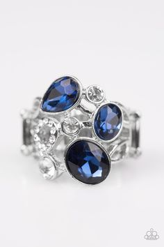Featuring various cuts and shimmer, glittery blue and white rhinestones are sprinkled across an airy frame, creating glamorous sparkle. Features a stretchy band for a flexible fit.  Sold as one individual ring.  New Kit P4RE-BLXX-080XX