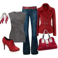 red and grey style ♥✤ | Keep the Glamour | BeStayBeautiful