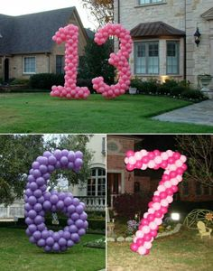 Geburtstagsparty Ideen lila und rosa ballons
