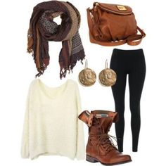 Boots, jeggings/leggings/skinnies, slouch top, scarf