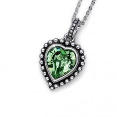 Oliver Weber Women lovely green pendant necklace antique heart with Swarovski Crystals Green Pendants, Summer Collection, Peridot, Swarovski Crystals, Take That, Pendant Necklace, Antiques, Heart, Color